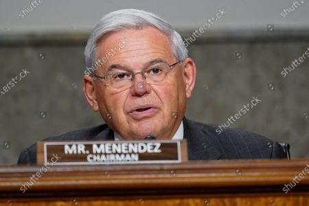 Sen. Robert Menendez, D-N.J., questions Zalmay Khalilzad, special envoy for Afghanistan Reconciliation, before the Senate Foreign Relations Committee on Capitol Hill in Washington, during a hearing on the Biden administration's Afghanistan policy and plans to withdraw troops after two decades of war