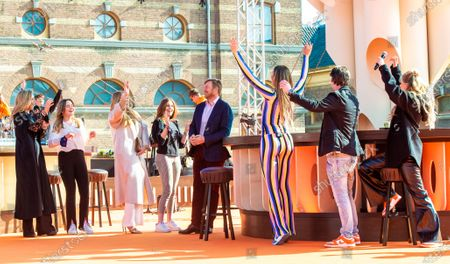King Willem-Alexander and Queen Maxima with their daughters Princess Amalia, Princess Alexia and Princess Ariane at the final repetitions of The Streamers (a band with multiple Dutch artists), befor the live concert takes place at Noordeinde Palace, that everyone can stream from their home.