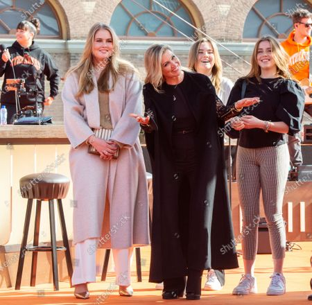 Queen Maxima with daughters Princess Amalia, Princess Alexia and Princess Ariane at the final repetitions of The Streamers (a band with multiple Dutch artists), befor the live concert takes place at Noordeinde Palace, that everyone can stream from their home.