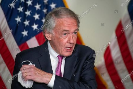 United States Senator Ed Markey (Democrat of Massachusetts) offers remarks following the Democratic Senate luncheon in the Hart Senate Office Building in Washington, DC,.