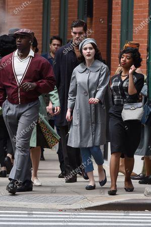 Rachel Brosnahan on location filming 'The Marvelous Mrs. Maisel' in New York City.