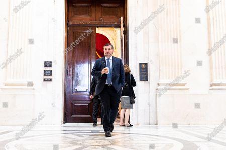U.S. Senator Ted Cruz (R-TX) leaving a luncheon of the Republican Senate Caucus.