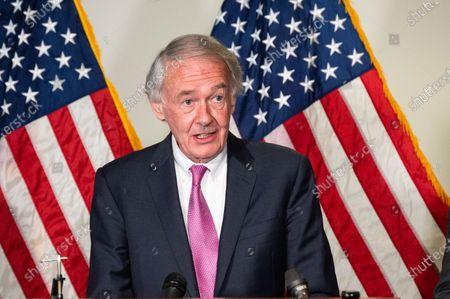 U.S. Senator Ed Markey (D-MA) speaking at a press conference of the Democratic Senate Caucus.