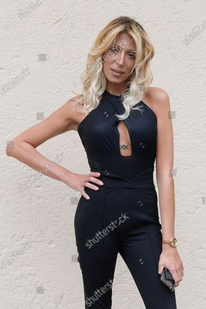Martina Panini poses for photographs on arrival at the studios for the recording of the last episode of the maurizio costanzo show 2021.