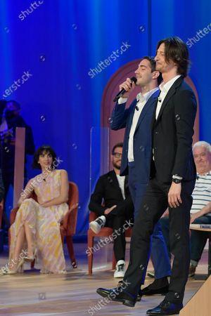 Tommaso Zorzi and Francesco Oppini during the broadcast Maurizio Costanzo Show last episode 2021.