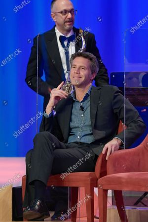 Stock Image of Emanuele Filiberto di Savoia during the broadcast Maurizio Costanzo Show last episode 2021.