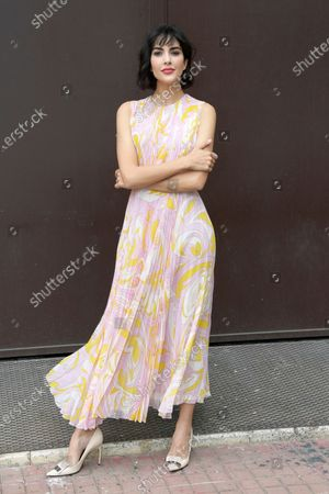 Rocio Munoz Morales poses for photographs on arrival at the studios for the recording of the last episode of the maurizio costanzo show 2021.