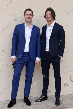 Tommaso Zorzi and Francesco Oppini pose for photographs on arrival at the studios for the recording of the last episode of the maurizio costanzo show 2021.