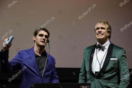 Stock Image of RJ Mitte and Steven Scott Stewart speak to guests