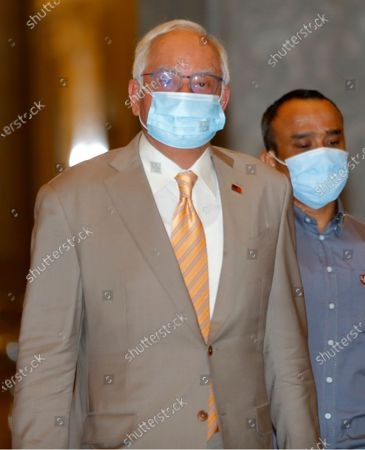 Malaysia's former prime minister Najib Razak arrives at the Court of Appeal in Putrajaya, Malaysia, 28 April 2021. Malaysia's Court of Appeal continued the hearing on Najib's bid to set aside his conviction on corruption charges in a case linked to a multibillion-dollar scandal at state fund 1Malaysia Development Berhad (1MDB).