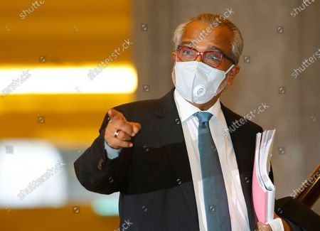 Stock Image of Muhammad Shafee Abdullah, lawyer for Malaysia's former prime minister Najib Razak, at the Court of Appeal in Putrajaya, Malaysia, 28 April 2021.  Malaysia's Court of Appeal continued the hearing on Najib's bid to set aside his conviction on corruption charges in a case linked to a multibillion-dollar scandal at state fund 1Malaysia Development Berhad (1MDB).