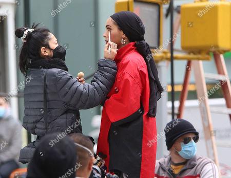 Beauty blogger Nura Afia seen shooting a Maybelline commercial
