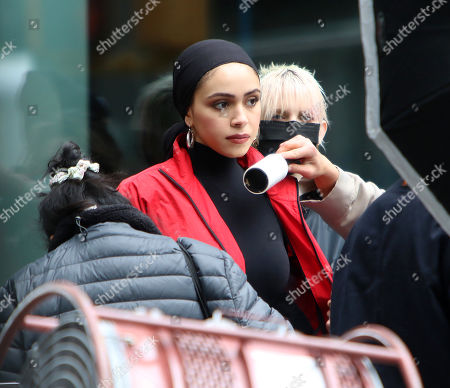 Stock Photo of Beauty blogger Nura Afia seen shooting a Maybelline commercial