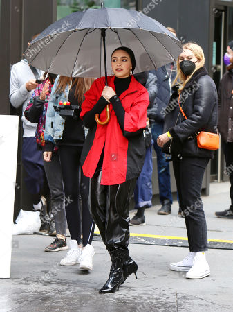 Editorial image of Nura Afia Maybelline commerical on set filming, New York, USA - 27 Apr 2021