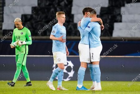 Oleksandr Zinchenko of Manchester City, Ruban Dias of Manchester City and Kyle Walker of Manchester City