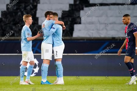 (L-r) Oleksandr Zinchenko of Manchester City, Ruban Dias of Manchester City, Kyle Walker of Manchester City and Kylian Mbappe of PSG