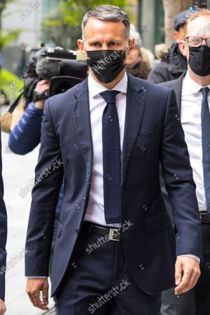 RYAN GIGGS arrives at Manchester and Salford Magistrates Court . The former Manchester United footballer and Wales manager has been charged with causing actual bodily harm to a woman in her 30s and common assault of a woman in her 20s in relation to incidents that took place on the evening of Sunday 1st November 2020 and has further been charged with one count of coercive and of controlling behaviour between December 2017 and November 2020