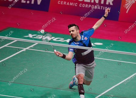 Stock Image of Luka Wrabel of Austria in action during  the men's singles match against Mark Caljouw of Netherland during the European Badminton Championships in Kiev, Ukraine, 28 April 2021.