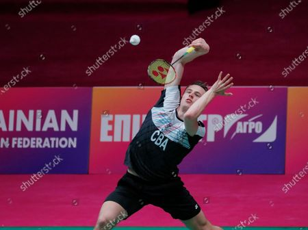 Stock Photo of Mark Caljouw of Netherland in action during  the men's singles match against Luka Wrabel of Austria during the European Badminton Championships in Kiev, Ukraine, 28 April 2021.