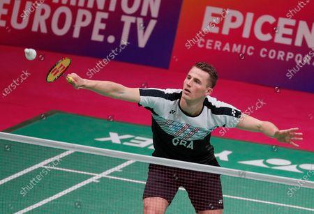 Mark Caljouw of Netherland in action during  the men's singles match against Luka Wrabel of Austria during the European Badminton Championships in Kiev, Ukraine, 28 April 2021.