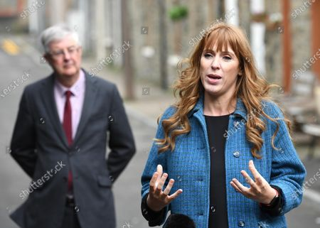 Welsh Labour Leader and Wales First Minister Mark Drakeford and Labour Deputy Leader Angela Rayner campaigning at The Factory in Porth, South Wales ahead of the Senedd elections in Wales next week.