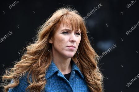 Stock Photo of Labour Deputy Leader Angela Rayner campaigning at The Factory in Porth, South Wales ahead of the Senedd elections in Wales next week.