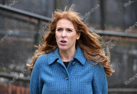 Stock Image of Labour Deputy Leader Angela Rayner campaigning at The Factory in Porth, South Wales ahead of the Senedd elections in Wales next week.