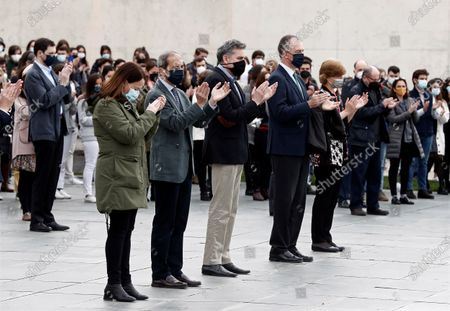 Students and teachers from the Communications Faculty of Navarra University keep a minute of silence in Pamplona, Navarra, Spain, 28 April 2021, as tribute to Spanish journalist and former student of the University David Beriarin Amatriain murdered the previous day in Burkina Faso. David Beriain was murdered along with Spanish journalist Roberto Fraile and co-founder and president of the anti-poaching group Chengeta Wildlife, Irish national Rory Young, while they were making a documentary about poaching in the Pama area of the country.