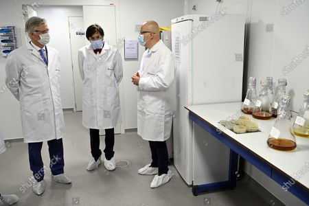 King Philippe - Filip of Belgium and Walloon Minister President Elio Di Rupo pictured during a royal visit to Eurogentec, a company which is at the heart of the development of therapies against the coronavirus in Belgium, in Seraing, Wednesday 28 April 2021. In the field of diagnostics, in particular testing, Eurogentec is one of the few companies in Europe to develop and produce reagents and pieces of DNA for qPCR analyzes. The King has an exchange with the management on the importance of Eurogentec's activities from Belgium, on the prospects for Belgian biotechnology companies and on the challenge of recruiting highly qualified workers. Then, he visits the laboratory where the DNA and RNA molecules are developed as well as the restricted area where the molecules are produced.