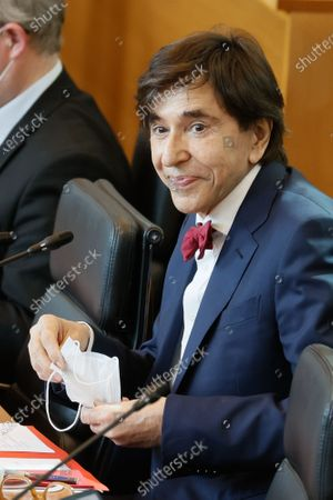 Walloon Minister President Elio Di Rupo pictured during a plenary session of the Walloon Parliament in Namur, this morning deputies will discuss the measures decided by the concertation commitee of last Match 24th to fight the Covid-19 pandemy in Belgium, Wednesday 28 April 2021.