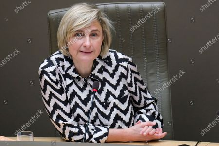 Flemish Minister of Employment, Economy, Social Economy and agriculture Hilde Crevits pictured during a plenary session of the Flemish Parliament in Brussels, Wednesday 28 April 2021.