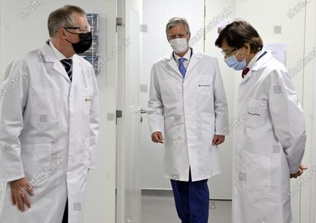Stock Picture of A royal visit to Eurogentec, a company which is at the heart of the development of therapies against the coronavirus in Belgium. In the field of diagnostics, in particular testing, Eurogentec is one of the few companies in Europe to develop and produce reagents and pieces of DNA for qPCR analyzes. The King has an exchange with the management on the importance of Eurogentec s activities from Belgium, on the prospects for Belgian biotechnology companies and on the challenge of recruiting highly qualified workers. Then, he visits the laboratory where the DNA and RNA molecules are developed as well as the restricted area where the molecules are produced. King Philippe, Elio Di Rupo
