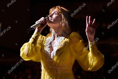 """Florence Welch of Florence + The Machine performs during """"The High As Hope Tour"""" in Chicago on . Welch is supplying the lyrics and co-writing music for a stage musical of """"The Great Gatsby,"""" it was announced Wednesday. She will collaborate on the music with Thomas Bartlett. The story writer is Martyna Majok, who was awarded the 2018 Pulitzer Prize for Drama for """"Cost of Living"""