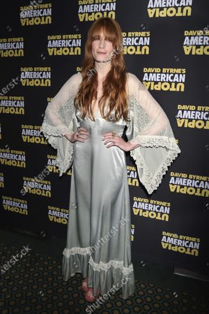 "Florence Welch attends the Broadway opening night of ""David Byrne's American Utopia,"" in New York on . Welch is supplying the lyrics and co-writing music for a stage musical of ""The Great Gatsby,"" it was announced Wednesday. She will collaborate on the music with Thomas Bartlett. The story writer is Martyna Majok, who was awarded the 2018 Pulitzer Prize for Drama for ""Cost of Living"