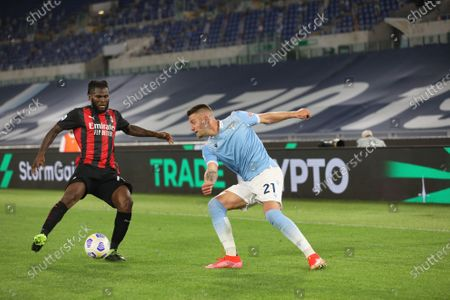 Home victory for Lazio that beat AC Milan 3-0 at the Olimpico for the 33th matchday of Serie A. Correa double and Immobile scored goals for Lazio.IN THIS PICTURE Franck Kessie - Sergej Milinkovic - Savic