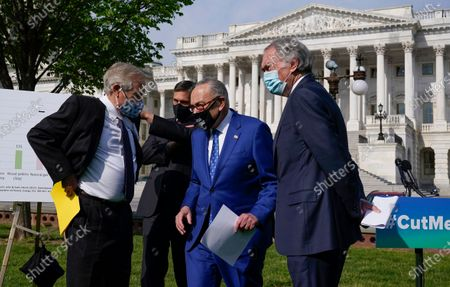 Stock Photo of From left, Sen. Angus King, I-Maine, Sen. Martin Heinrich, D-N.M., Senate Majority Leader Chuck Schumer, D-N.Y., and Sen. Ed Markey, D-Mass., hold a news conference about legislation to re-impose critical regulations to reduce methane pollution from oil and gas wells, at the Capitol in Washington