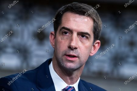 Sen. Tom Cotton, R-Ark., asks a question during the the Senate Judiciary Committee confirmation hearing in Dirksen Senate Office Building in Washington, . Ketanji Brown Jackson, nominee to be U.S. Circuit Judge for the District of Columbia Circuit, and Candace Jackson-Akiwumi, nominee to be U.S. Circuit Judge for the Seventh Circuit, testified on the first panel