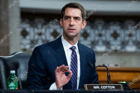 Sen. Tom Cotton, R-Ark.,  asks a question during the Senate Judiciary Committee confirmation hearing in Dirksen Senate Office Building in Washington, DC, USA, 28 April 2021.