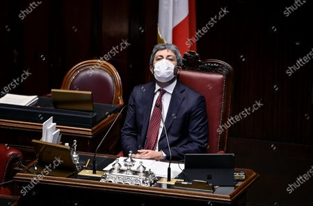 Stock Picture of President of the Chamber of Deputies Roberto Fico during a question time session at the Lower House of the Parliament, Rome, Italy, 28 April 2021.