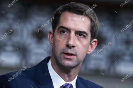 Sen. Tom Cotton, R-Ark.,  asks a question during the Senate Judiciary Committee confirmation hearing in Dirksen Senate Office Building in Washington, D.C., on Wednesday, April 28, 2021. Ketanji Brown Jackson, nominee to be U.S. Circuit Judge for the District of Columbia Circuit, and Candace Jackson-Akiwumi, nominee to be U.S. Circuit Judge for the Seventh Circuit, testified on the first panel.