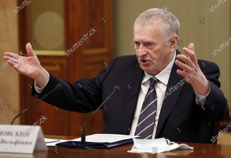 Stock Image of Head of the Liberal Democratic Party of Russia (LDPR) parliamentary fraction Vladimir Zhirinovsky attends a meeting of Russian Prime Minister Mikhail Mishustin (not pictured) with the heads of the Duma factions at the State Duma, the lower house of parliament, in Moscow, Russia, 28 April 2021.