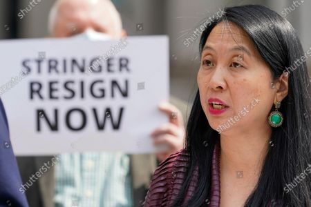 Jean Kim speaks to reporters during a news conference, in New York. Kim, who once worked as an unpaid intern for City Comptroller Scott Stringer, a contender to become New York City's next mayor, accused him Wednesday of groping her without consent. Stringer denied the allegations