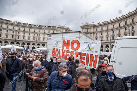 Stock Image of Demonstration organized by street vendors in Piazza della Repubblica in Rome to protest against the decision of Mayor of Rome Virginia Raggi to apply Bolkestein directive which in Rome would ban about 12 thousand street vendors' licenses.