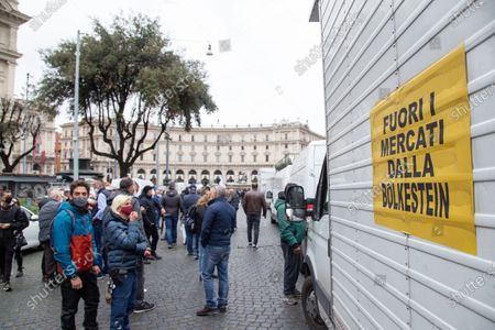 Demonstration organized by street vendors in Piazza della Repubblica in Rome to protest against the decision of Mayor of Rome Virginia Raggi to apply Bolkestein directive which in Rome would ban about 12 thousand street vendors' licenses.