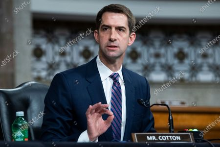 UNITED STATES - APRIL 28: United States Senator Tom Cotton (Republican of Arkansas), asks a question during the Senate Judiciary Committee confirmation hearing in Dirksen Senate Office Building in Washington, D.C.,. Ketanji Brown Jackson, nominee to be U.S. Circuit Judge for the District of Columbia Circuit, and Candace Jackson-Akiwumi, nominee to be U.S. Circuit Judge for the Seventh Circuit, testified on the first panel.