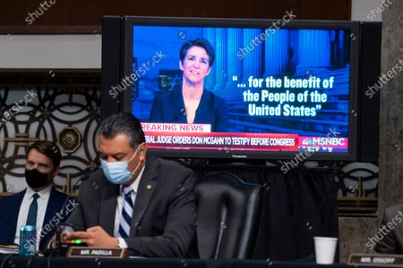 UNITED STATES - APRIL 28: A clip from the Rachel Maddow Show is played during the Senate Judiciary Committee confirmation hearing in Dirksen Senate Office Building in Washington, D.C.,. Ketanji Brown Jackson, nominee to be U.S. Circuit Judge for the District of Columbia Circuit, and Candace Jackson-Akiwumi, nominee to be U.S. Circuit Judge for the Seventh Circuit, testified on the first panel.