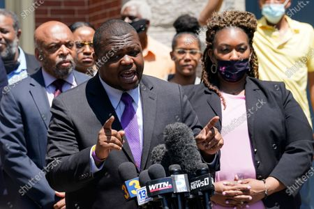 Attorney's for the family of Andrew Brown Jr., Harry Daniel, center, Chantel Cherry-Lassiter, right, and Wayne Kendall, left, make comments after a judge denied requests to release body camera video in the fatal shooting of Brown, in Elizabeth City, N.C