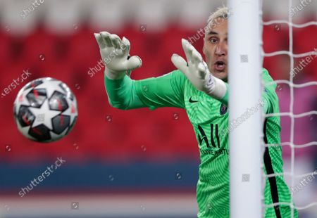 PSG's goalkeeper Keylor Navas fails to make a save during the Champions League semifinal first leg soccer match between Paris Saint Germain and Manchester City at the Parc des Princes stadium, in Paris, France