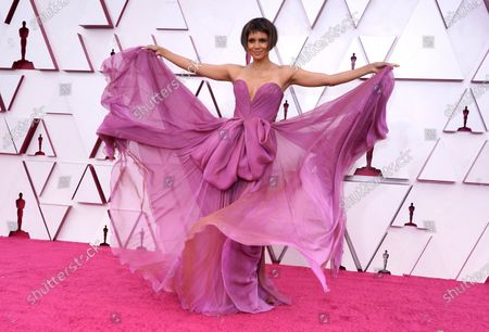 Halle Berry arrives at the Oscars, at Union Station in Los Angeles