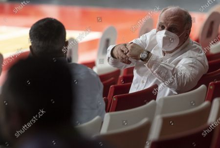 Munich's former President Uli Hoeness (R) gestures during the Euroleague playoff basketball match between Bayern Munich and AX Armani Exchange Milan in Munich, Germany, 28 April 2021.